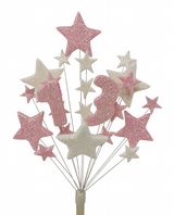 Number age 13th birthday cake topper decoration in pale pink and white - free postage